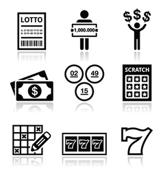 Winning money on lottery slot machine icons set vector image