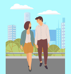 young couple in love walks in a city park people vector image