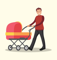 young dad walking with a newborn that is in the vector image