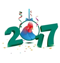 Blue chicken symbol 2017 vector image vector image