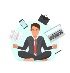 businessman sitting in lotus position vector image