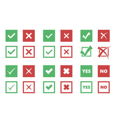 Check box icons tick and cross signs vector
