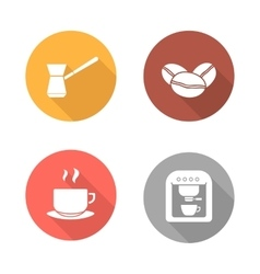 Coffee flat design icons set vector image vector image