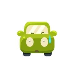 Cold Sweat Green Car Emoji vector image