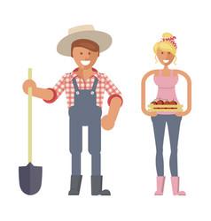 farmers family gardeners vector image