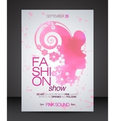 Fashion show flyer with floral hair pink woman vector image
