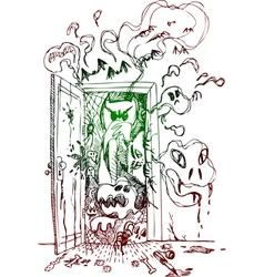 Horror open door vector image