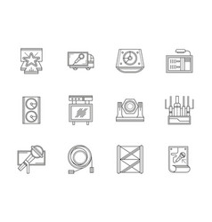 stage equipment flat line icons set vector image