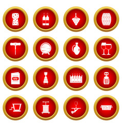 Wine icon red circle set vector