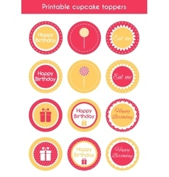 Printable cupcake toppers vector image vector image