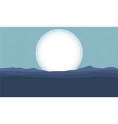 Silhouette of hills and big moon vector image vector image
