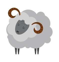 Smiling sheep cartoon animal lamb mammal vector image