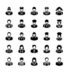 Avatars glyph icons 8 vector