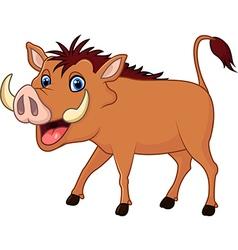 Cartoon warthog isolated on white background vector image vector image