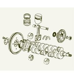 Crankshaft assembly vector image