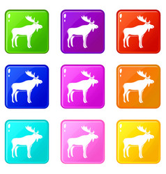 deer icons 9 set vector image vector image
