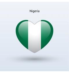 Love nigeria symbol heart flag icon vector
