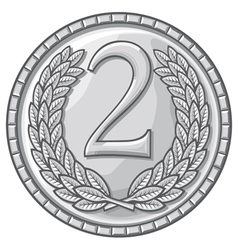 second place medal with laurel wreath vector image vector image
