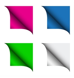 Set of four color curled corner vector image vector image