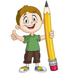 boy holding pig pencil vector image