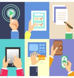 business hands vector image vector image