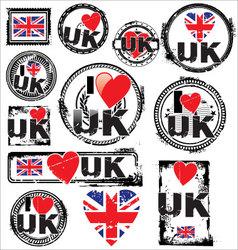 I love UK ink rubber stamp set vector image vector image