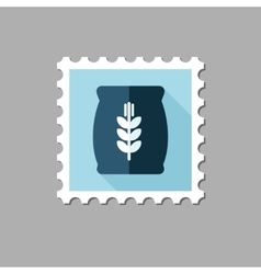 Sack of grain flat stamp with long shadow vector image vector image