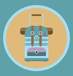 Tourist bag with wheels and handle flat icon vector image vector image