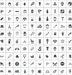 100 barbershop icons vector