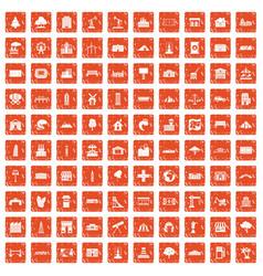 100 landscape element icons set grunge orange vector image