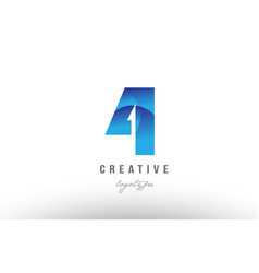 4 four blue gradient number numeral digit logo vector
