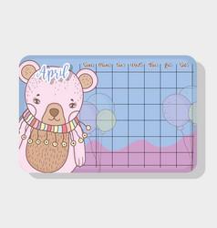 april calendar with bear cute animal vector image