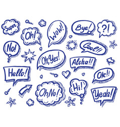 art speech bubble with sound expression text set vector image