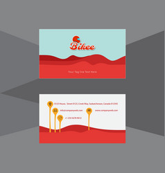 Artistic business card in red waves vector