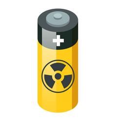 battery with radioactive warning yellow circle vector image