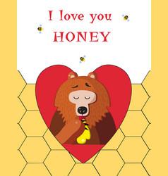 Bear eating sweet honey inside of red heart on vector