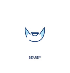Beardy concept 2 colored icon simple line element vector