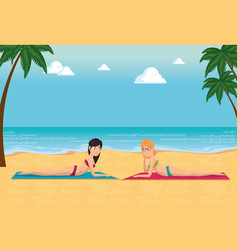 beautiful women sunbathe on the beach desing vector image