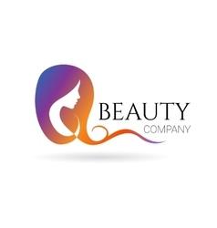 Beauty company logo with female face vector image