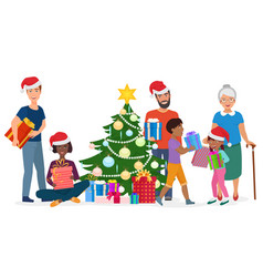 big happy family decorates christmas tree vector image