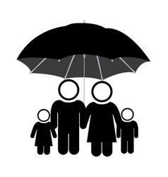 Black pictogram of umbrella protecting family vector
