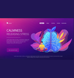 calmness and releasing stress concept landing page vector image