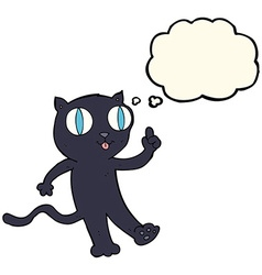 cartoon black cat with idea with thought bubble vector image