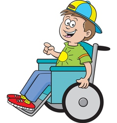 Cartoon Boy in a Wheelchair vector image