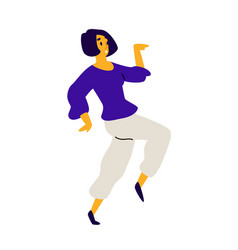 cheerful dancing girl a laughing young woman vector image