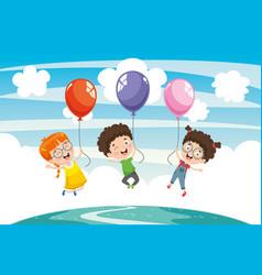 Children with balloon vector