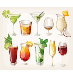 Collection of alcohol drinks and coctails vector