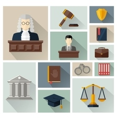 Collection or set of law and justice icons vector