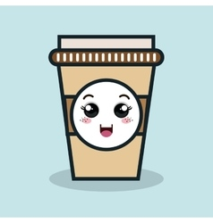 Cup plastic drink facial expression isolated icon vector