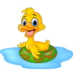 Cute duck floating with inflatable ring vector
